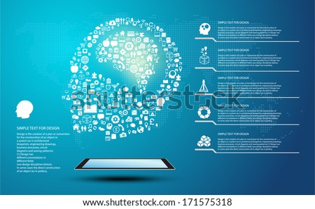 Icon shape infographic of Innovate idea and thinking with global communication, brain - stock vector