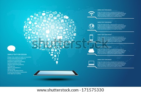 Icon shape infographic of  Speech with global communication - stock vector