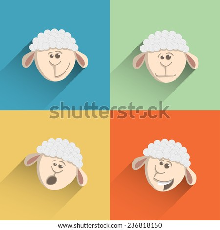 Icon sheep style flat design - set of four emotions. Sheep smiling, sheep laughs, sheep upset, sheep yawns. - stock vector
