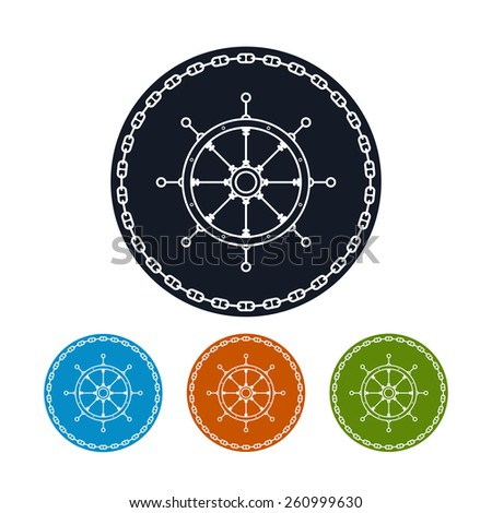 Icon  ship's wheel,   four types of colorful round icons  boat's wheel in the circle of the chain , vector illustration