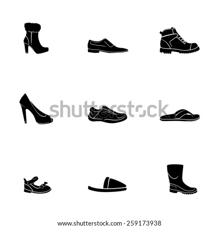 icon shoes set - stock vector