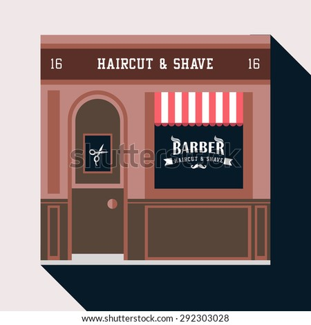 Icon shop or stores with long shadow. Vector flat  illustration. Barber shop. Haircut and shave.