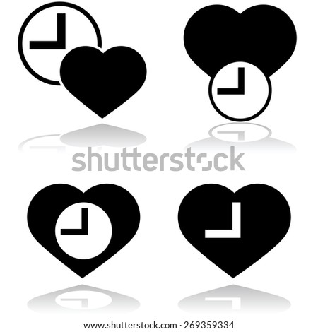 Icon showing a heart and a clock to symbolize heart rate - stock vector