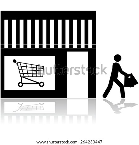 Icon showing a person walking out of a store carrying bags