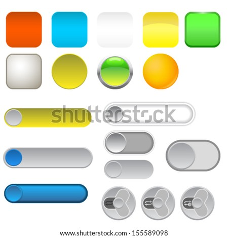 Icon. Slider. Button. Set. Vector. Illutration.