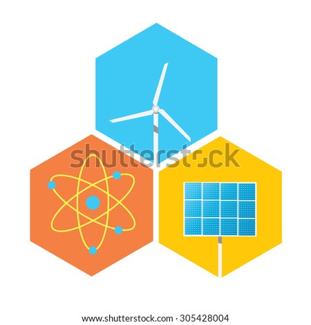 Icon solar panels, wind turbines and atom. - stock vector