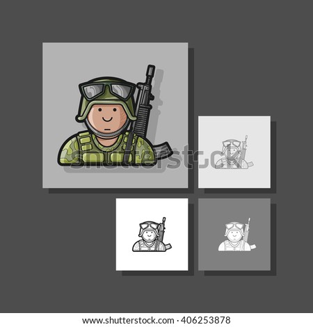 Icon Soldier in uniform with a gun in camouflage and helmet - stock vector