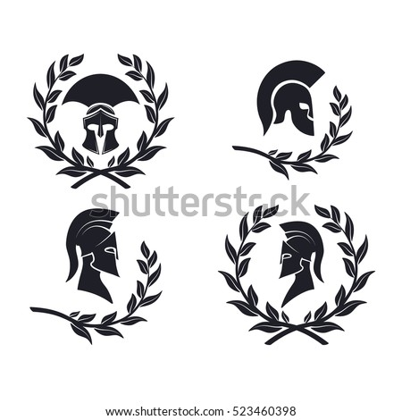 Icon Spartan warrior in the laurel wreath