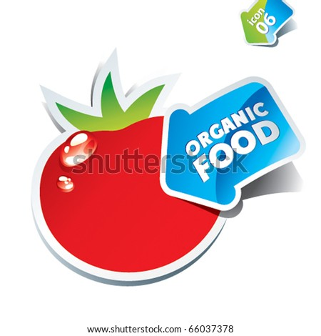 Icon tomato with an arrow by organic food. Vector illustration. - stock vector