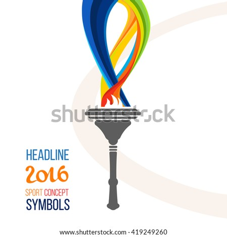 Icon torch. Torch fire, championship icon, a symbol of victory. Isolated vector illustration. sign headline 2016 isolate.