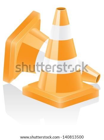 icon traffic cone vector illustration isolated on white background - stock vector