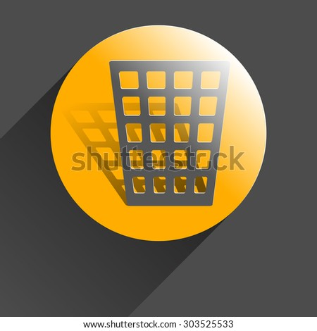 Icon trash can, black vector illustration with shadow on gray background.