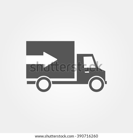 Icon van with arrow and  flat design - stock vector