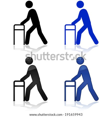 Icon vector illustration showing a person using a walking aid