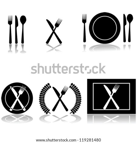 Icon vector illustrations of fork, knife and spoon arranged in different ways - stock vector