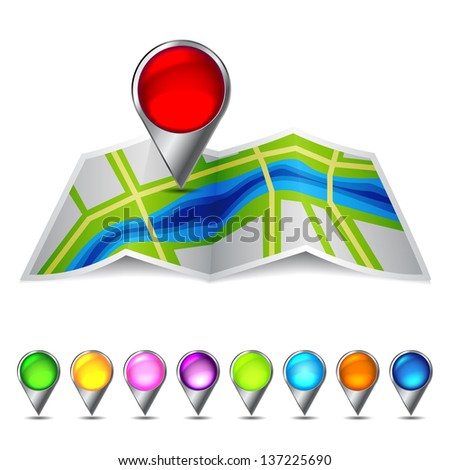Icon vector map of the city. eps10 with transparency - stock vector