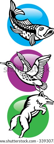 Icon wild wolf fish duck - stock vector