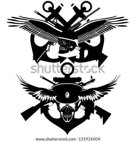 Icon with a skull, wings, wheel and anchors. Black-and-white illustration.