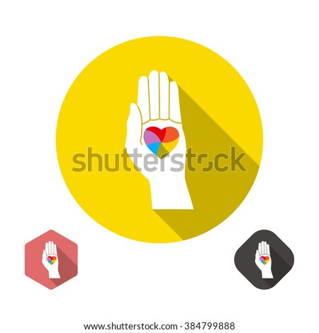 Icon with a symbol of homosexuals. A palm with the heart painted in colors of a rainbow. - stock vector