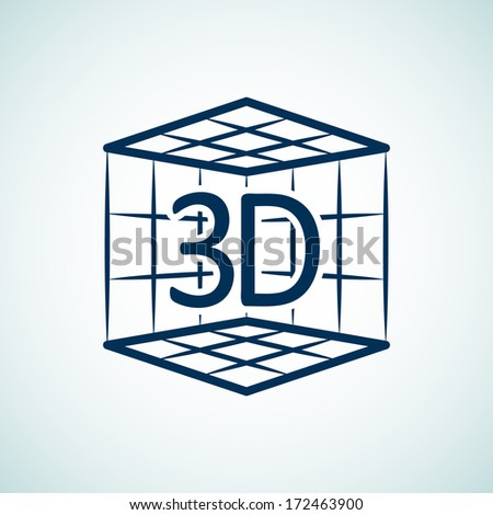 Icon with 3d print concept. 3d print in box - stock vector
