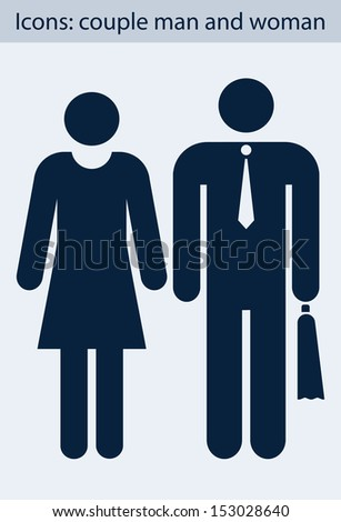 Icon with  image of  pair of men and women - stock vector