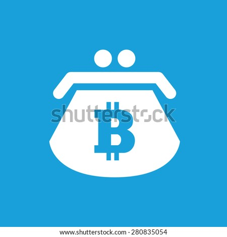 Icon with image of purse with bitcoin symbol, isolated on blue - stock vector
