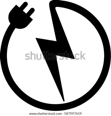 Icon Plug Bolt Electrician Stock Vector 587997659 - Shutterstock