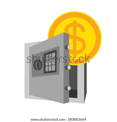 Icon with safe and money, save money. Vector - stock vector