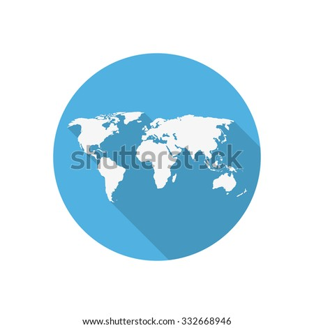 Icon world map on blue circle stock vector 332668946 shutterstock icon world map on a blue circle in a flat design gumiabroncs Images