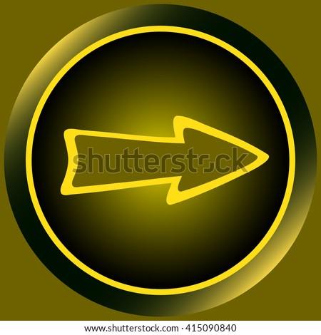 Icon yellow arrow - stock vector