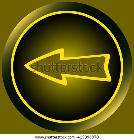 Icon yellow arrow left - stock vector