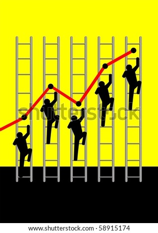Iconic illustration of people climbing the ladders