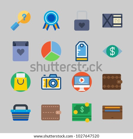 Icons about Commerce with padlock, vision, shopping bag, wallet, photo camera and tag