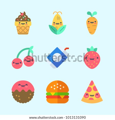 Icons about Food with cherry, strawberry, ice cream, soda, hamburger and pizza