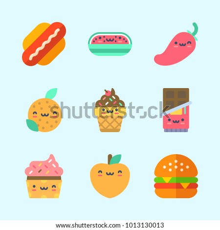 Icons about Food with chocolate, chili pepper, cupcake, orange, hamburger and peach