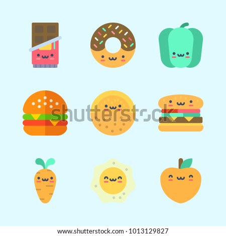 Icons about Food with chocolate, fried egg, carrot, peach, donut and hamburger