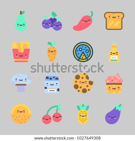 Icons about Food with grapes, mustard, carrot, cupcake, toast and cherry