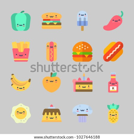 Icons about Food with mushroom, popsicle, hamburger, cake, fried egg and pineapple