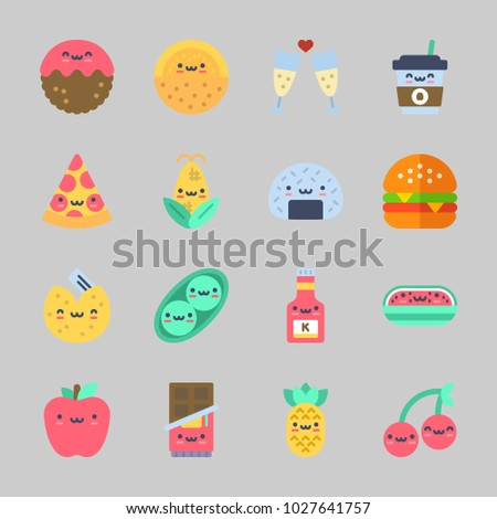 Icons about Food with pea, pizza, toast, apple, coffee cup and cherry