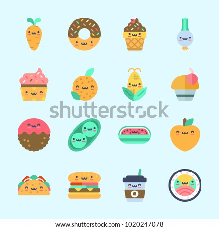 Icons about Food with sushi, watermelon, meatball, donut, pea and orange