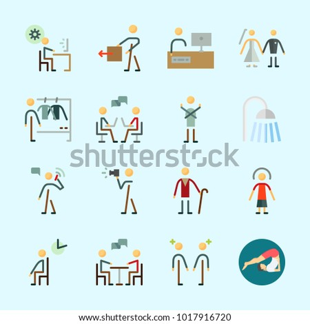 Icons About Human Waiting Room Programmer Stock Vector