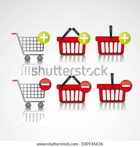 icons added to the shopping cart, to virtual store
