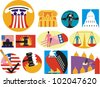 Icons and illustrations depicting government, legislation, politics and justice - stock vector