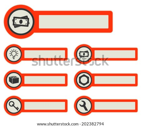 icons and paper stickers with instruments, components and features. for high quality print, web design and office work. easy color editing.
