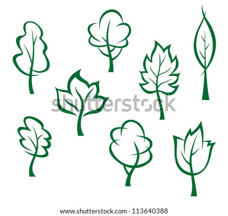 Icons and symbols of green trees in cartoon style, such a logo template. Jpeg version also available in gallery - stock vector