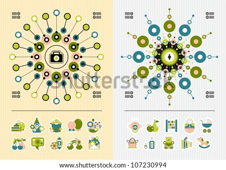icons and symmetric infographics - stock vector