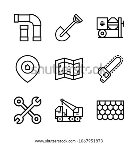 Icons architecture print build blueprint wood stock vector icons architecture with print build blueprint wood and tool malvernweather Image collections