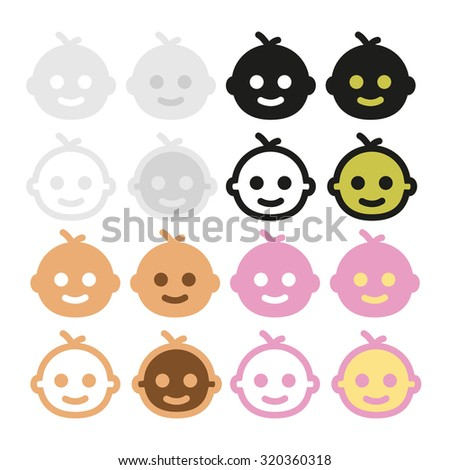 Icons baby-faced, gray, beige, pink, black and white in vector