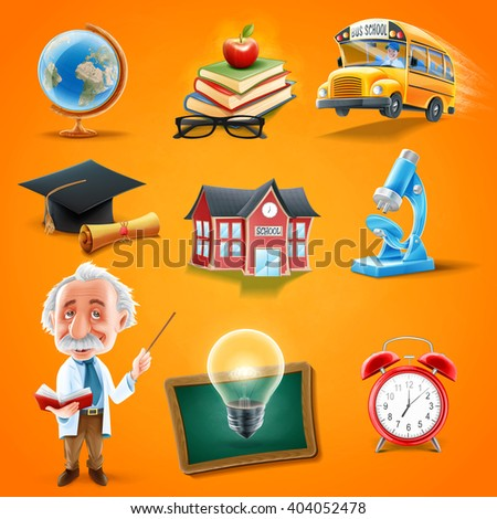 icons back to school - stock vector