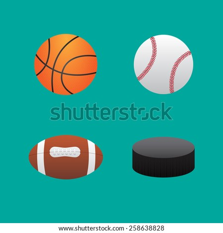 Icons balls baseball football basketball and hockey puck - stock vector
